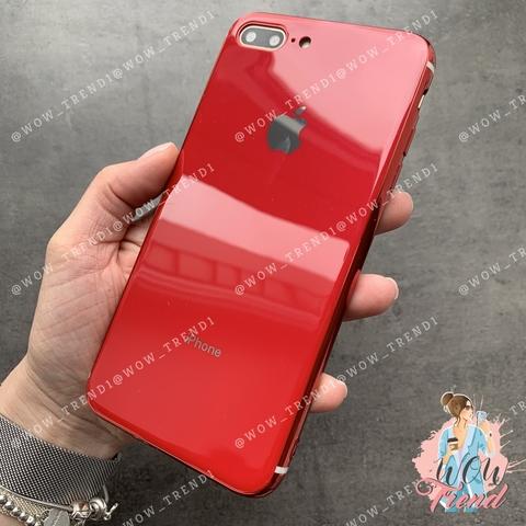 Чехол iPhone 7/8 Plus Glass Silicone Case Logo /red/