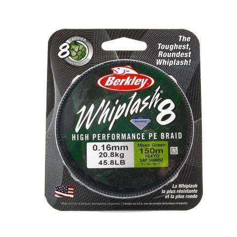 Плетеная леска Berkley Whiplash 8 Темно-зеленая 150 м. 0,16 мм. 20,8 кг. Green