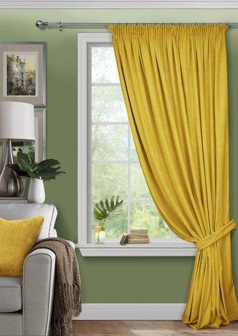 Готовая штора из велюра с подхватом Тара желтый