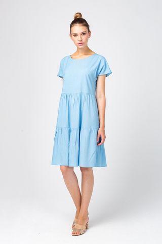 Фото голубое летнее платье из вискозы с воланами - Платье З358а-575 (1)