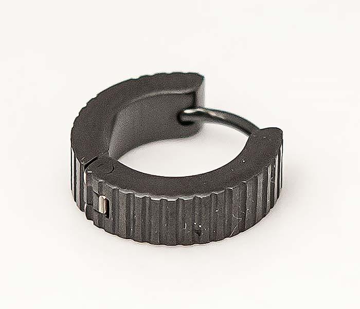 ER464-3 Черные мужские серьги кольца из стали фото 02