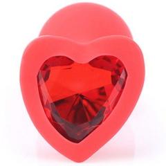 Силиконовая красная анальная пробка с кристаллом в форме сердца