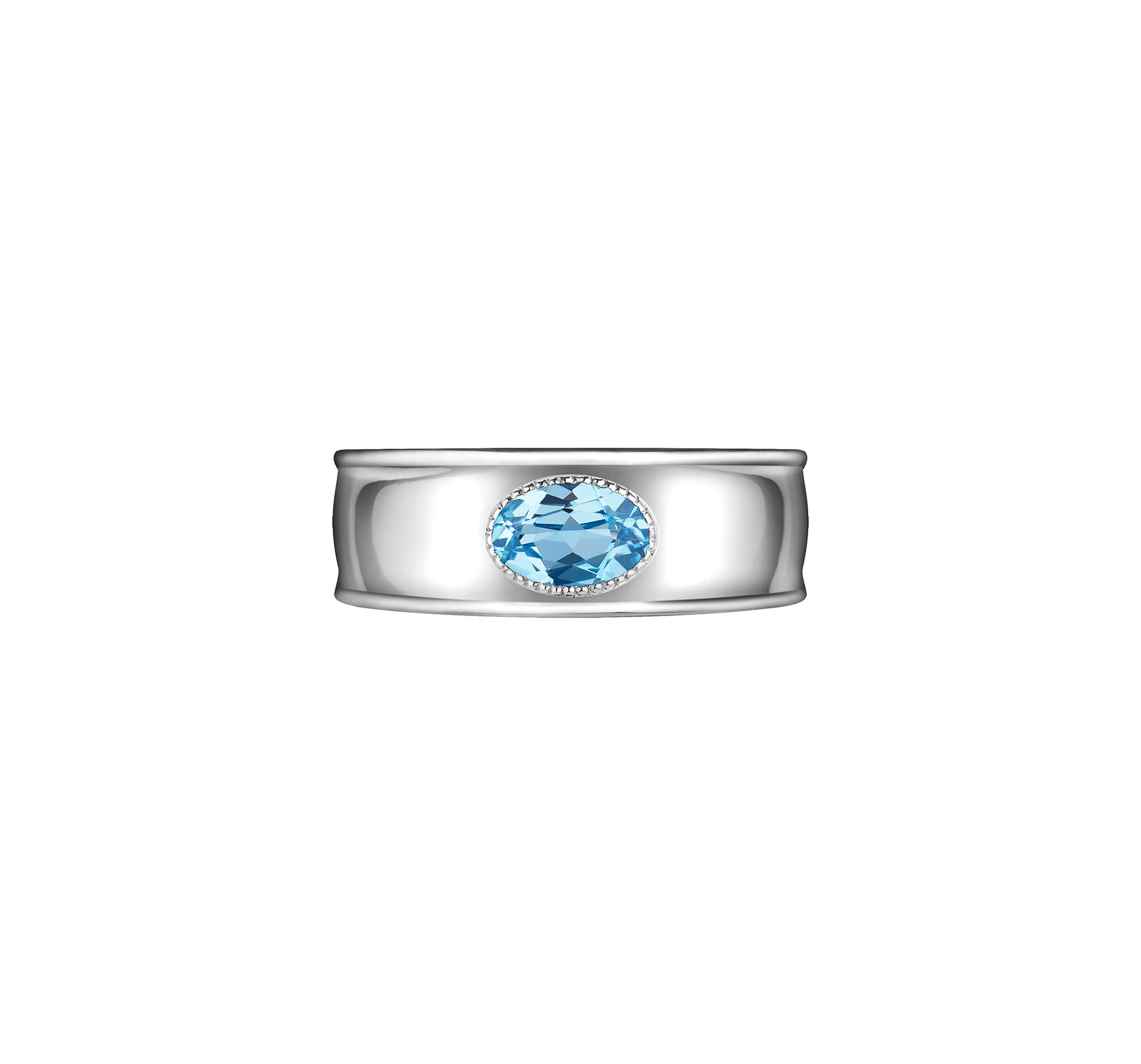 Кольцо из серебра 925 пробы, покрыто родием и дополнено голубым топазом