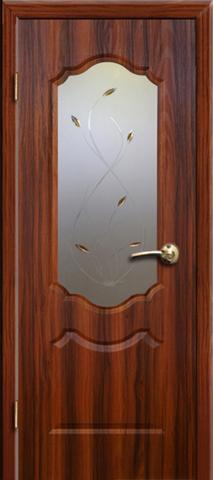 Дверь AIRON Канадка Анастасия, Пескоструйное стекло с художественным фьюзингом, цвет тёмный орех, остекленная