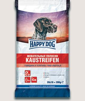 Happy Dog Лакомство для собак Happy Dog Жевательные полоски с говядиной и телятиной Szhevatelnye_poloski_govjadina_i_teljatina.jpg