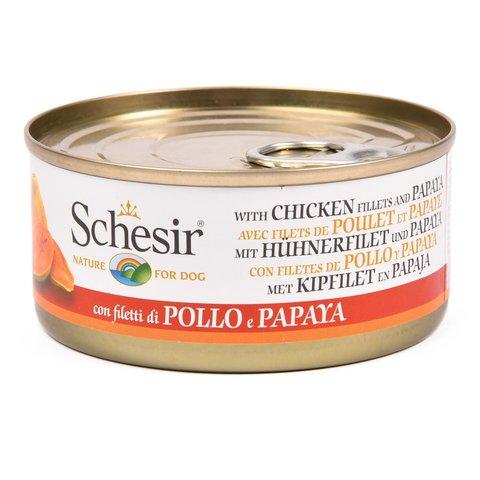 Schesir консервы для собак куриное филе и папайя 150г