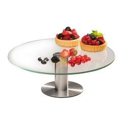 Столик поворотный стеклянный для торта D30 H7 см, оптом 5 шт.