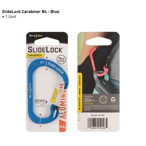 Карабин с блокировкой Nite Ize SlideLock Carabiner Aluminum, размер 4 синий