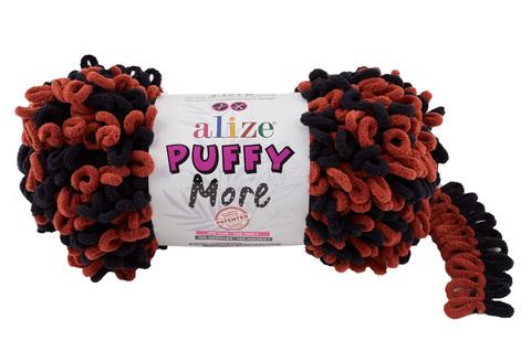 Купить Пряжа Пуффи Море цвет 6262 черный-кирпичный | Интернет-магазин пряжи «Пряха»