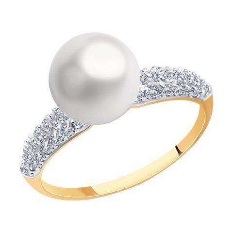 791221- Кольцо из золота с жемчугом и фианитами
