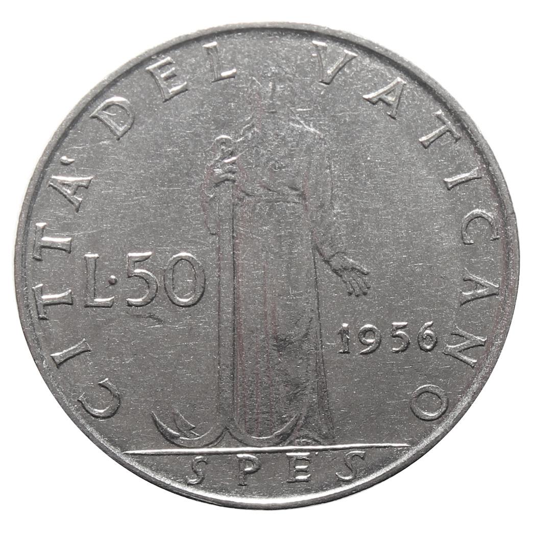 50 лир 1956 год, Ватикан. aUNC