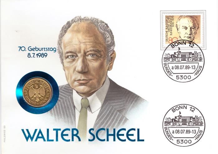 1 марка 1988 год. (D) Германия. Медноникель с позолотой. UNC. В конверте со спецгашением