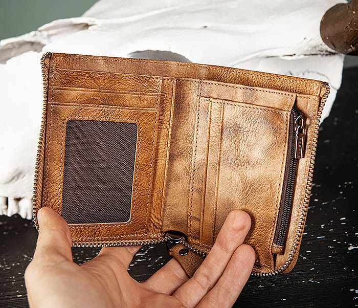 WL331-2 Мужское портмоне из натуральной коричневой кожи фото 05