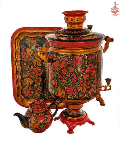 Самовар расписной «Хохлома классическая» электрический формой банка 10 л в наборе с подносом и чайником