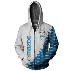 Толстовка утепленная с молнией 3D принт,  Mazda (3Д Теплые Худи с молнией Мазда) 001