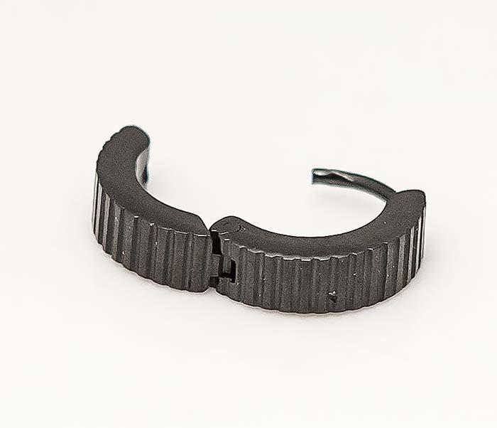 ER464-3 Черные мужские серьги кольца из стали фото 04