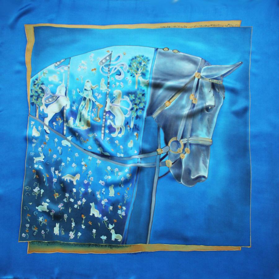 Шёлковый платок Кальвадос Синий С-60