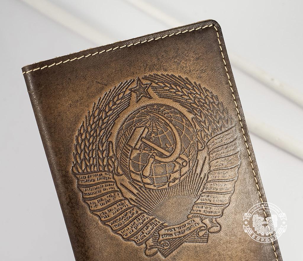 BY14-25-01 Обложка на паспорт ручной работы «СССР» фото 03