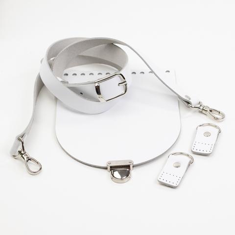 """Комплект для сумки-ракушки """"Белый"""" с ручкой через плечо и клапаном"""