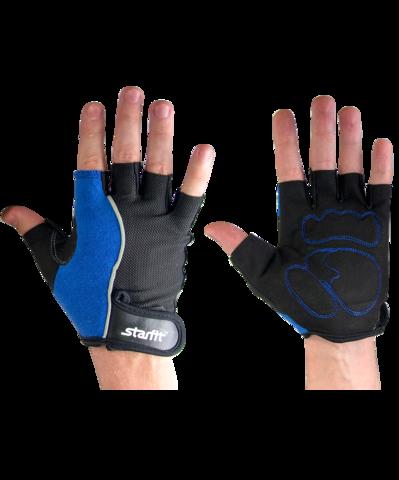 Перчатки для фитнеса SU-108, синие/черные