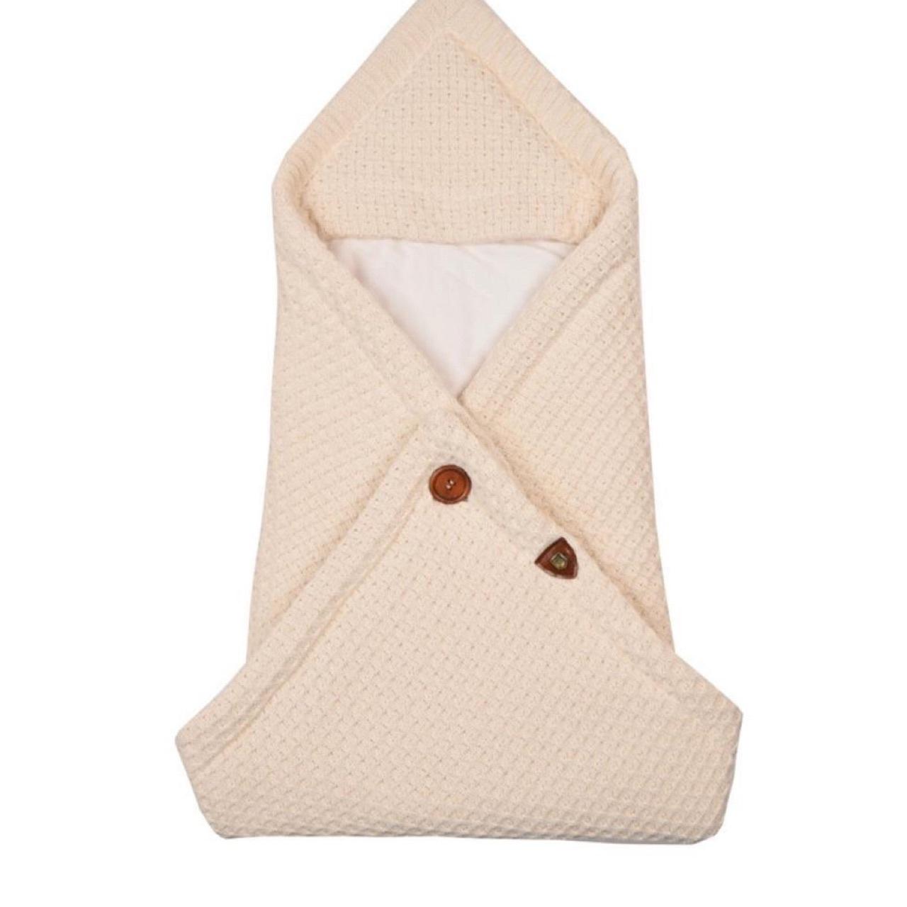 Вязаный конверт - плед  для новорожденного OSCAR молочный