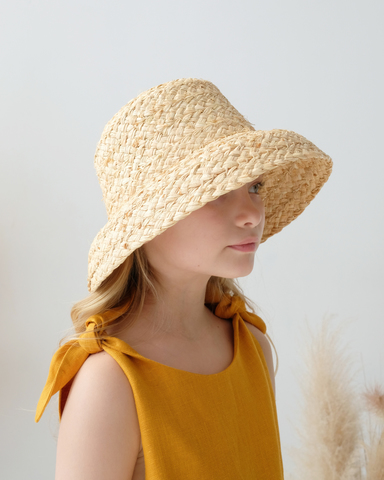 Straw hat BELL with changeable ribbons