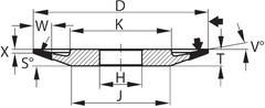 Алмазный тарельчатый шлифовальный круг D×Г×В (мм) D91