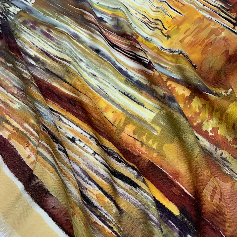 Кашемировый платок батик Березовая роща С-74-ш