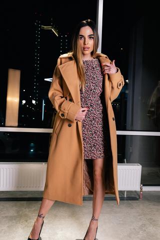 Пальто из кашемира с поясом Nadya