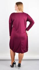 Джаз. Стильное платье большого размера. Бордо.