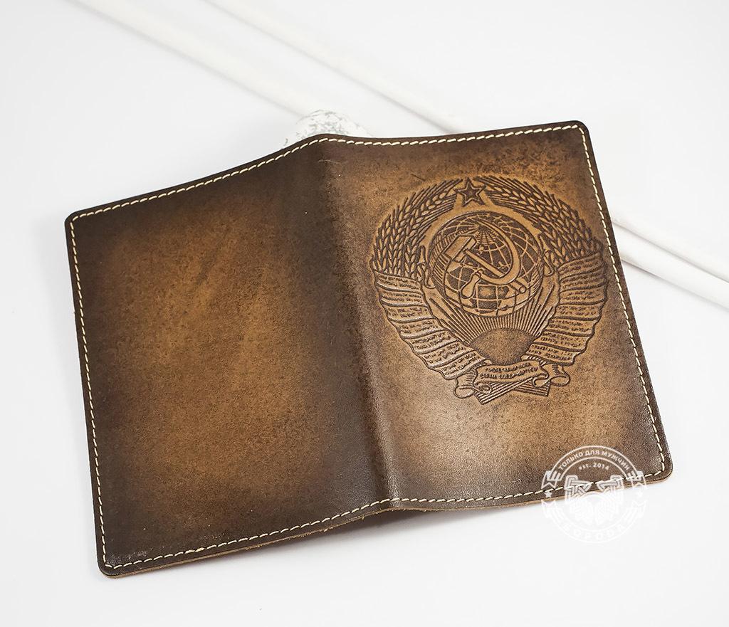 BY14-25-01 Обложка на паспорт ручной работы «СССР» фото 04