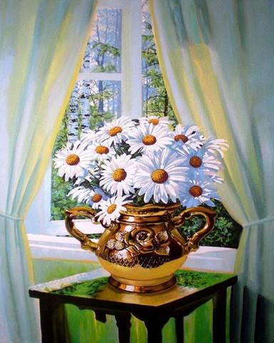 Картина раскраска по номерам 50x65 Ромашки в золотой вазе