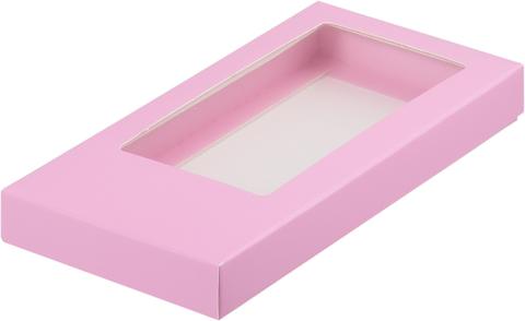 Коробка для шоколадной плитки 18*9*1,7 см, розовая