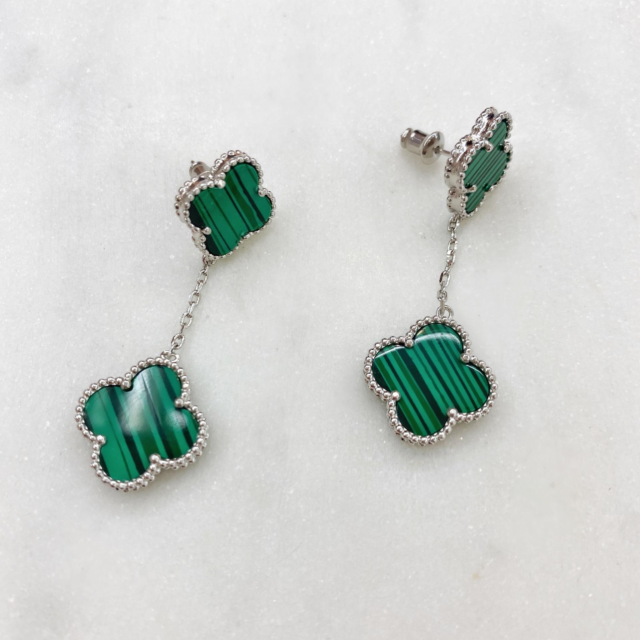 Серьги Два клевера (зеленый, серебристый)