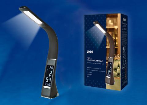 TLD-542 Black/LED/300Lm/5000K/Dimmer Светильник настольный c часами, календарем, термометром, 5W. Сенсорный выключатель. Черный (стилизован под кожу). TM Uniel.