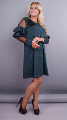 Yunona ангора. Стильна сукня для жінок з пишними формами. Смарагд.