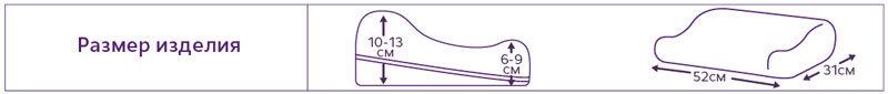 """Подушка ортопедическая под голову с регулировкой по высоте ТОП-""""ТРИВЕС"""" арт.ТОП-105 с эффектом памяти, выемкой под плечо"""