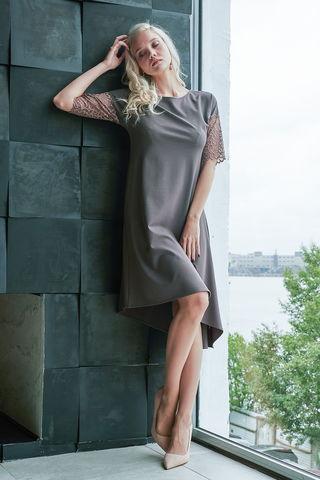 Фото нарядное пастельное платье с полупрозрачным кружевом - Платье З429а-824 (1)