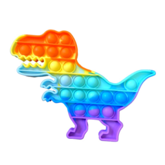Пупырка вечная антистресс pop it (поп ит) радужный динозавр