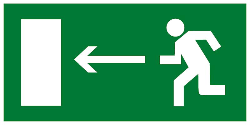 Эвакуационный знак Е04 - Направление к эвакуационному выходу налево