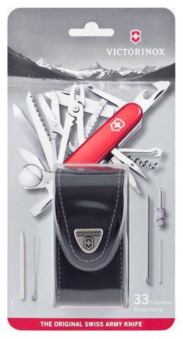 Нож Victorinox SwissChamp, 91 мм, 33 функции, красный, кожаный чехол, блистер123
