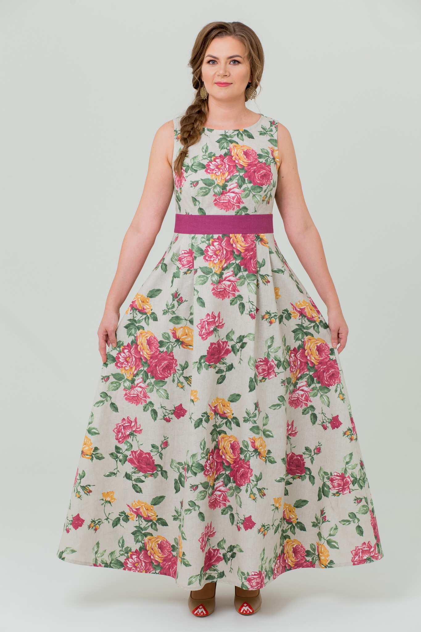 Платье льняное Вальс цветов длинное