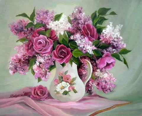 Алмазная Мозаика 30x40 Букет с розами и сиренью в белой вазе