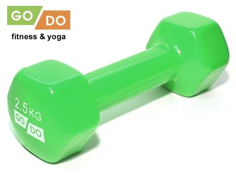 Гантель GO DO в виниловой оболочке. Вес 2,5  кг.  (Зеленый)