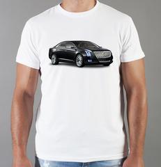 Футболка с принтом Кадиллак (Cadillac) белая 008