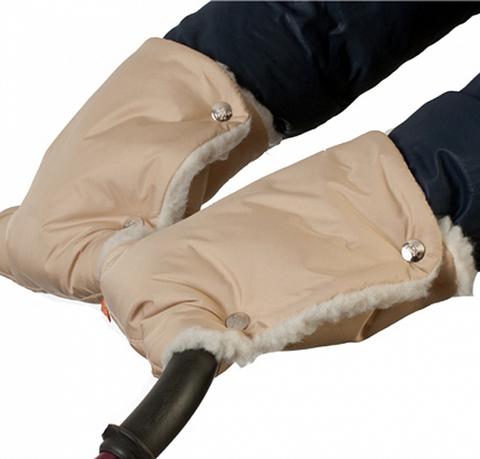 Муфты-рукавички на коляску однотон. (мех) Белые
