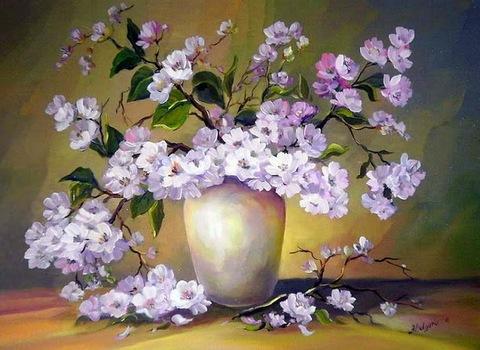 Картина раскраска по номерам 50x65 Веточки с цветами в вазе