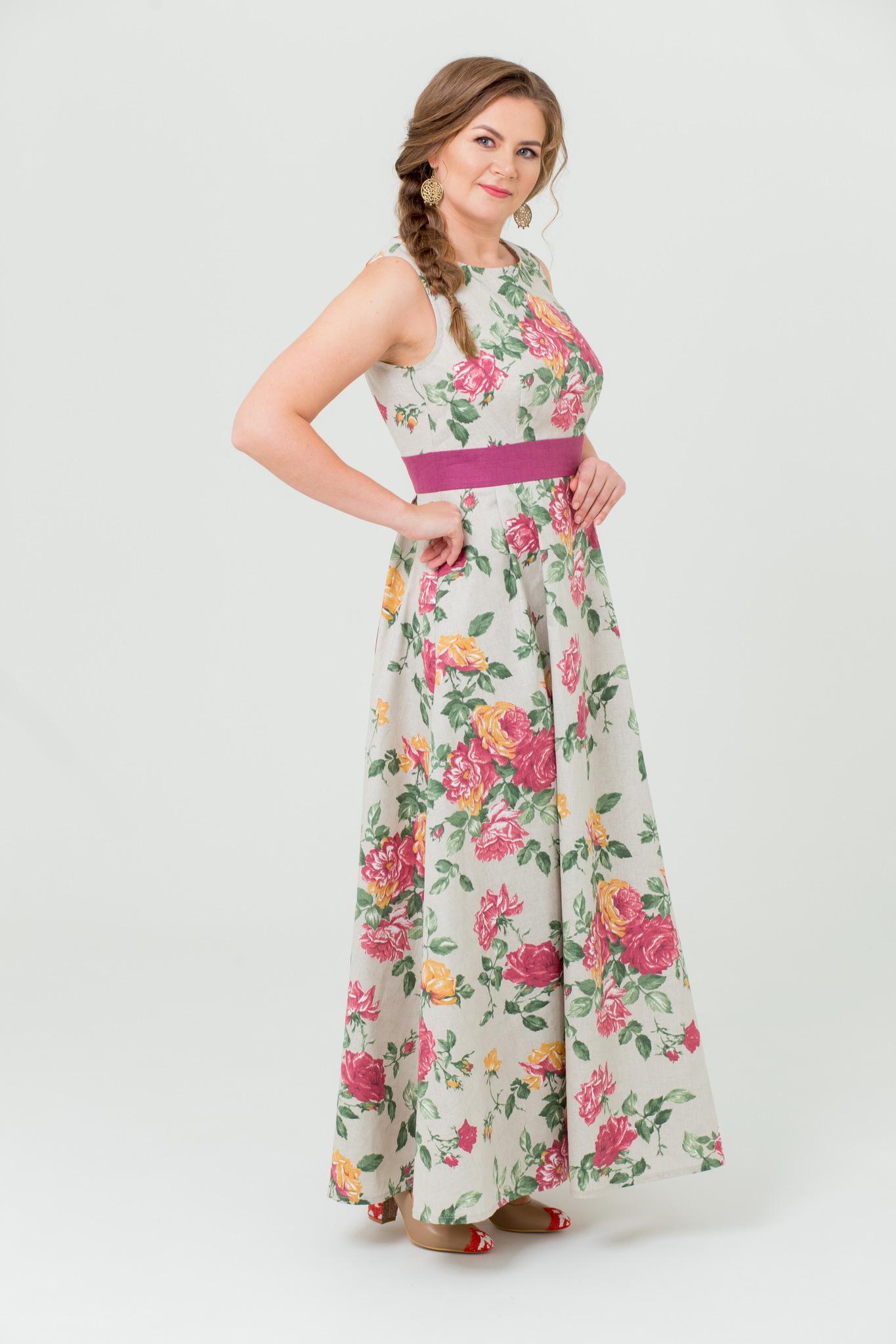 Платье льняное Вальс цветов в русском стиле