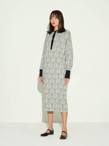 Женское платье молочного цвета из шерсти и шелка - фото 2