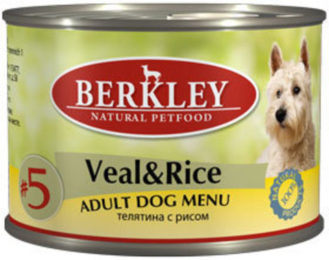 Консервы Berkley №5 Телятина с рисом для собак